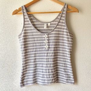 Anthropologie striped top with buttons